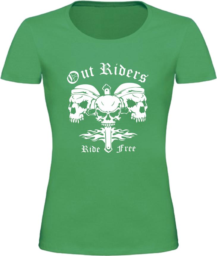 Dámské motorkářské tričko Out Riders zelené