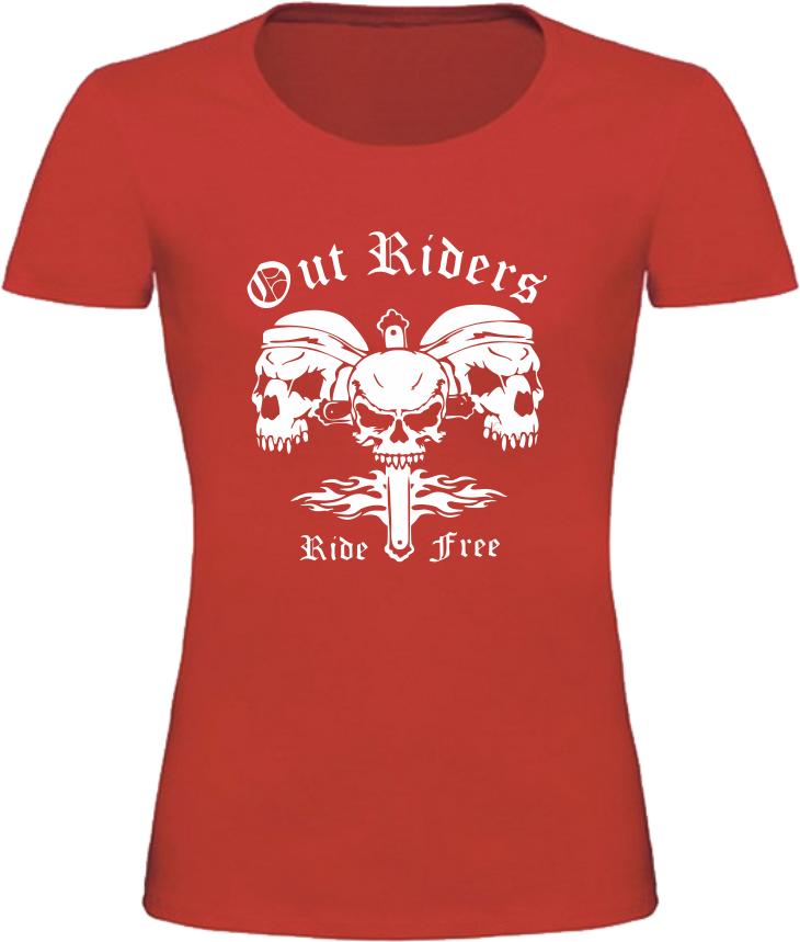 Dámské motorkářské tričko Out Riders červené