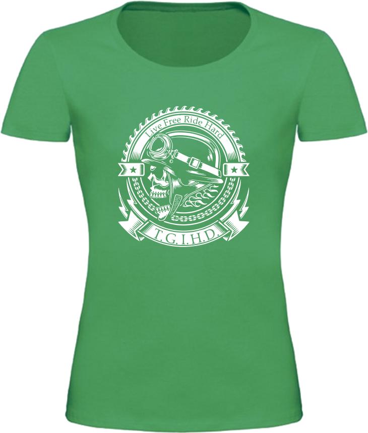 Dámské motorkářské tričko T.G.I.H.D. zelené