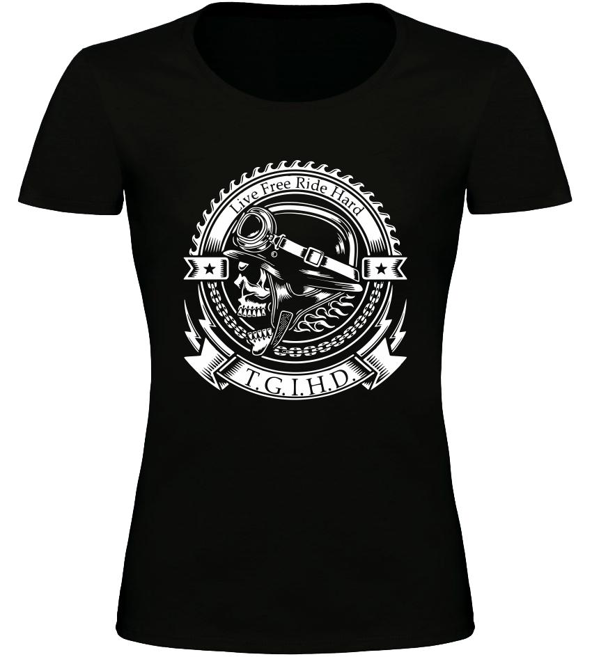 Dámské motorkářské tričko T.G.I.H.D. černé
