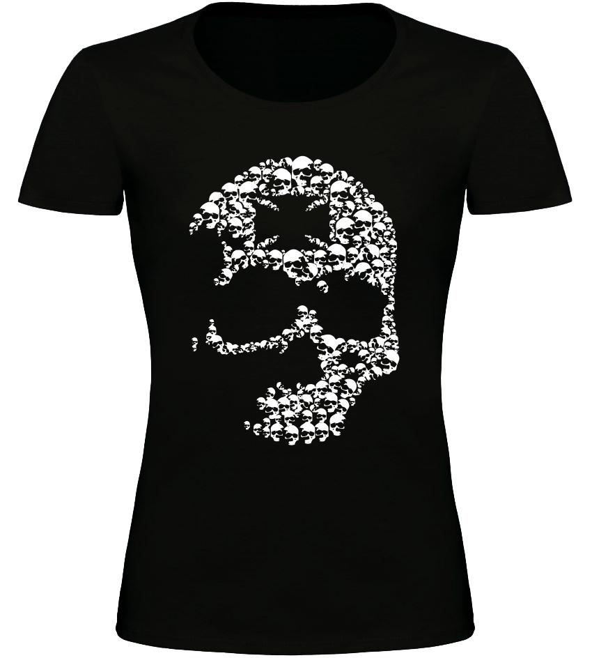 Dámské motorkářské tričko s lebkou černé  a9d6a386dd