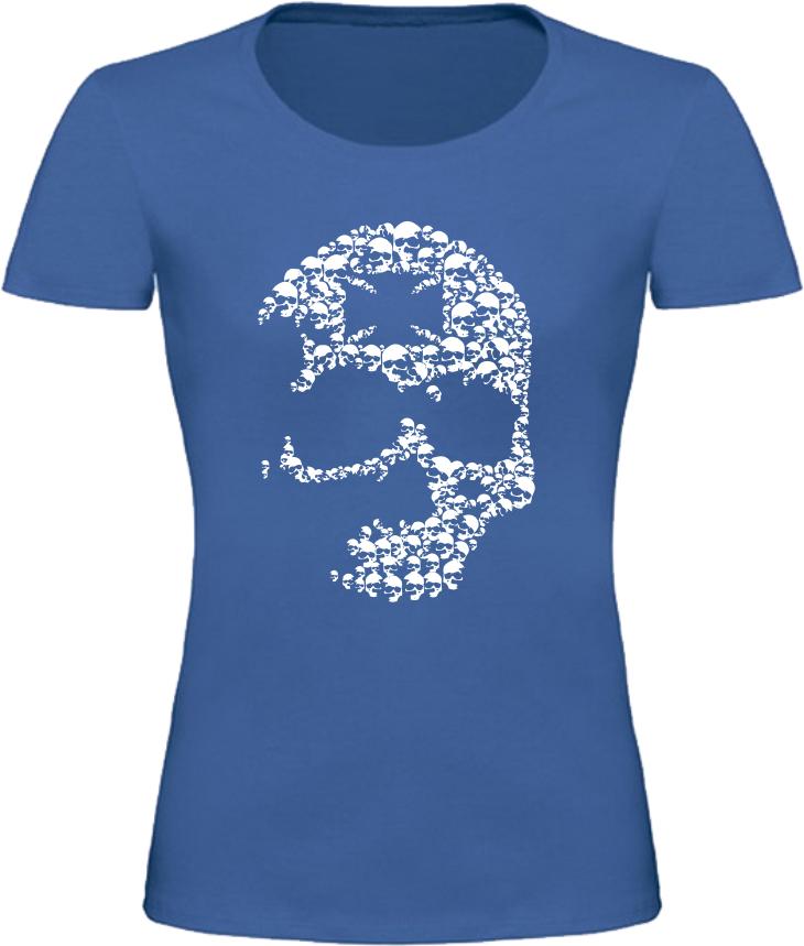Dámské motorkářské tričko s lebkou modré