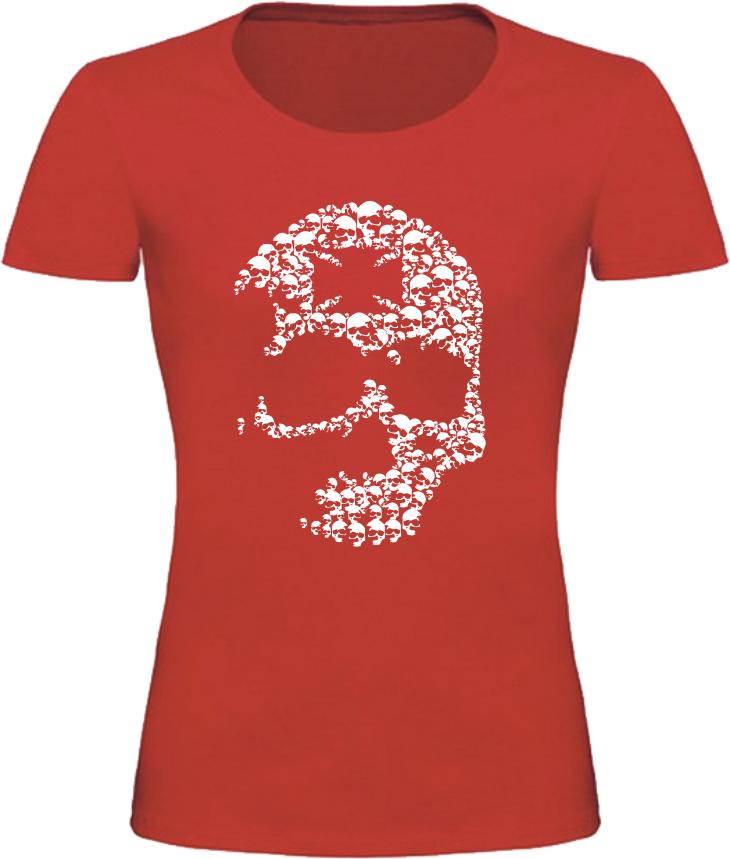 Dámské motorkářské tričko s lebkou červené  b4d68f5d0a