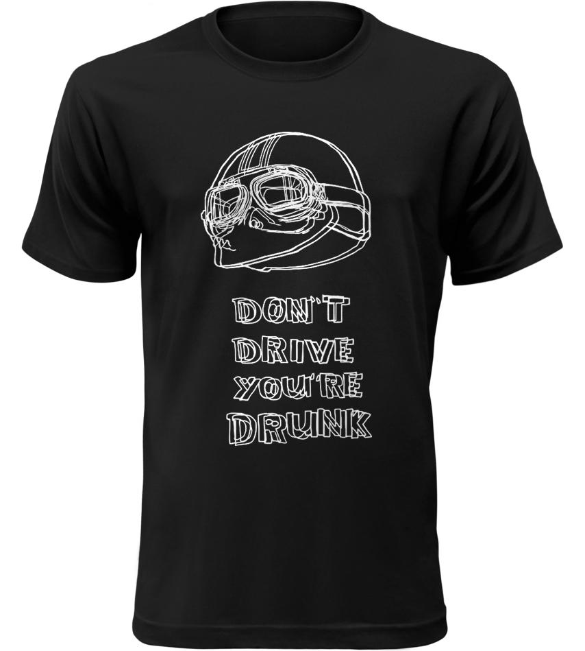Pánské motorkářské tričko Nejezděte Opilí černé