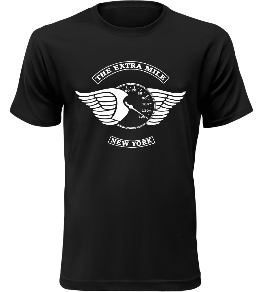 Pánské motorkářské tričko The Extra Mile černé