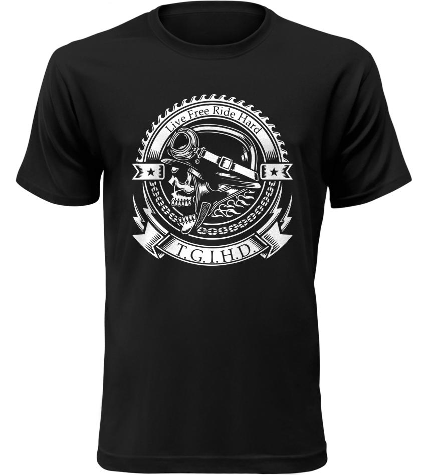 Pánské motorkářské tričko T.G.I.H.D. černé