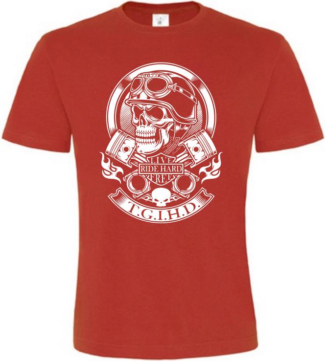 Pánské motorkářské tričko Live Ride Hard Free červené