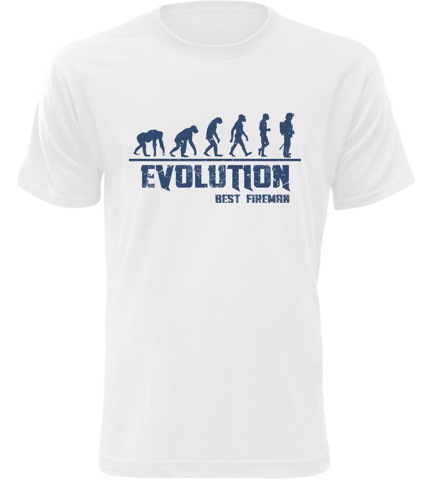 Pánské tričko Evolution Best Fireman bílé