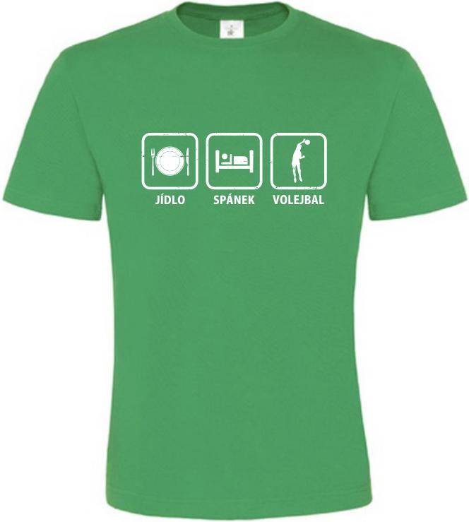 Pánské tričko Jídlo Spánek Volejbal zelené