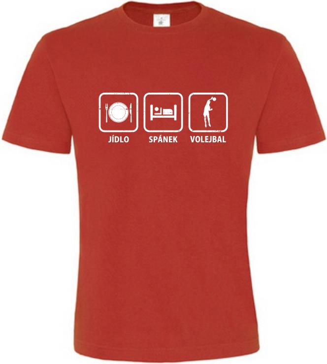 Pánské tričko Jídlo Spánek Volejbal červené  bb3a2d35b4