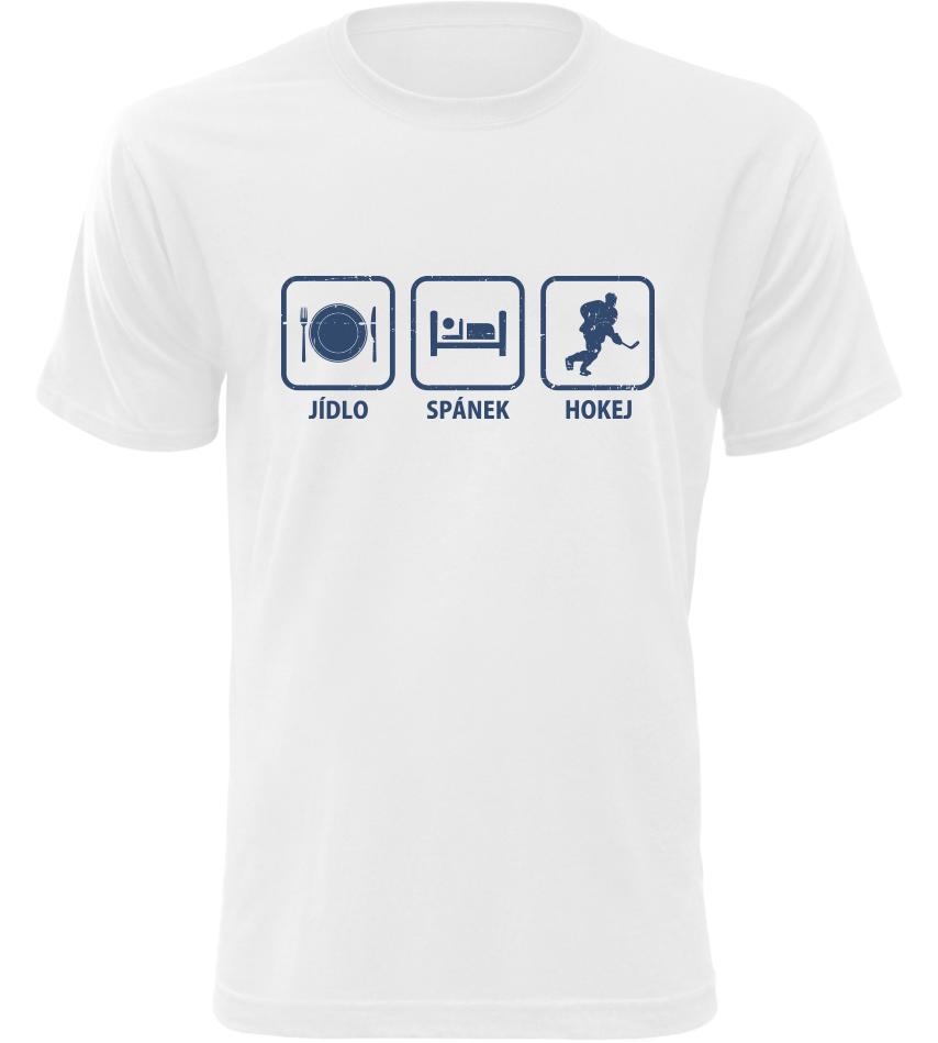 Pánské tričko Jídlo Spánek Hokej bílé
