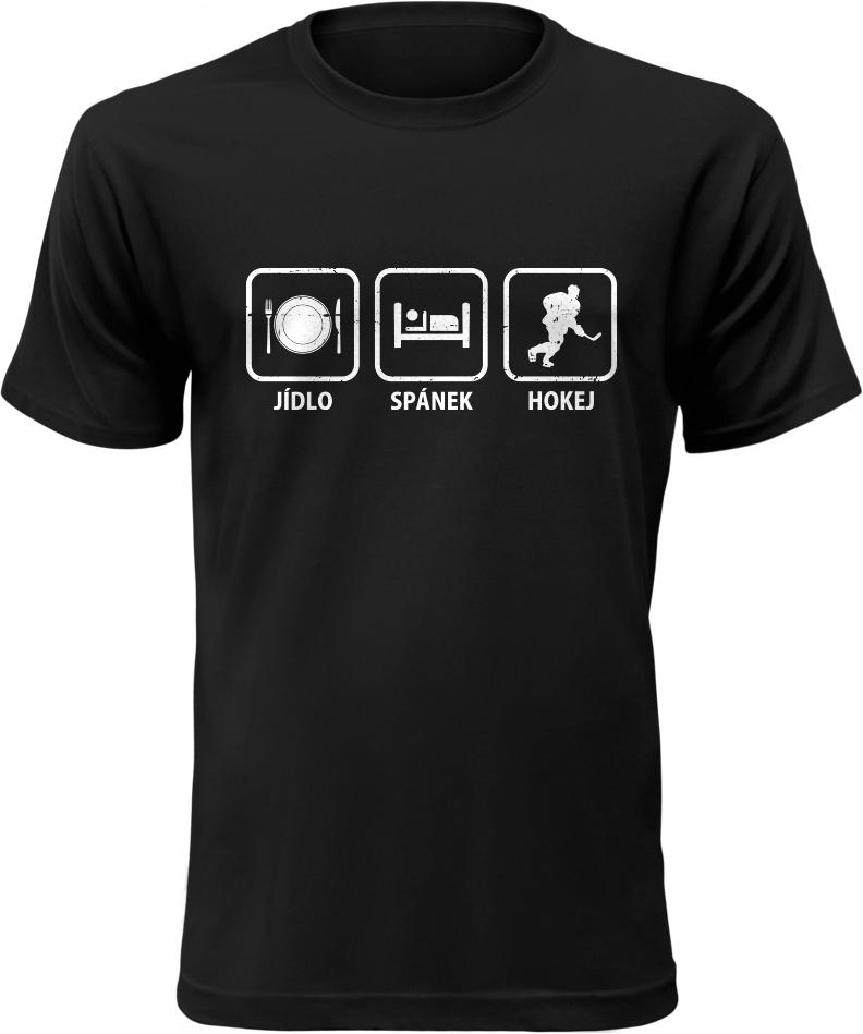 Pánské tričko Jídlo Spánek Hokej černé