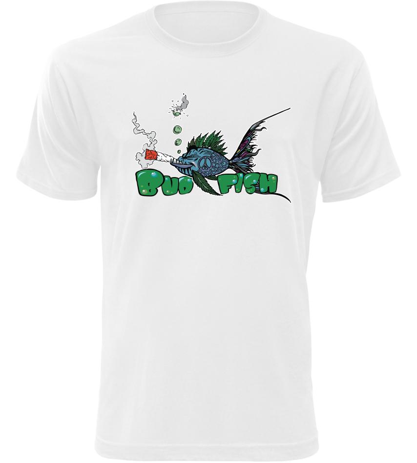 Pánské rybářské tričko Bud Fish bílé