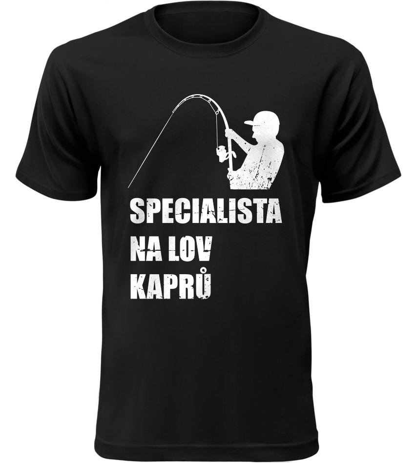 Pánské rybářské tričko Specialista na kapry černé