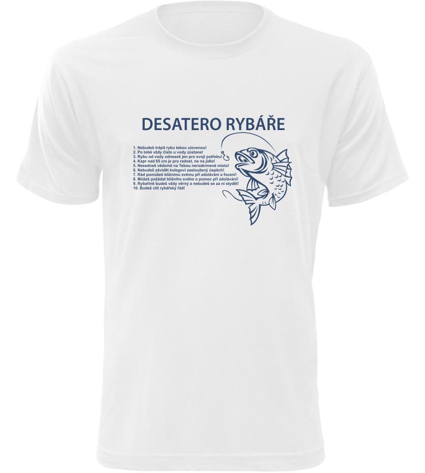 Pánské rybářské tričko Desatero rybáře bílé