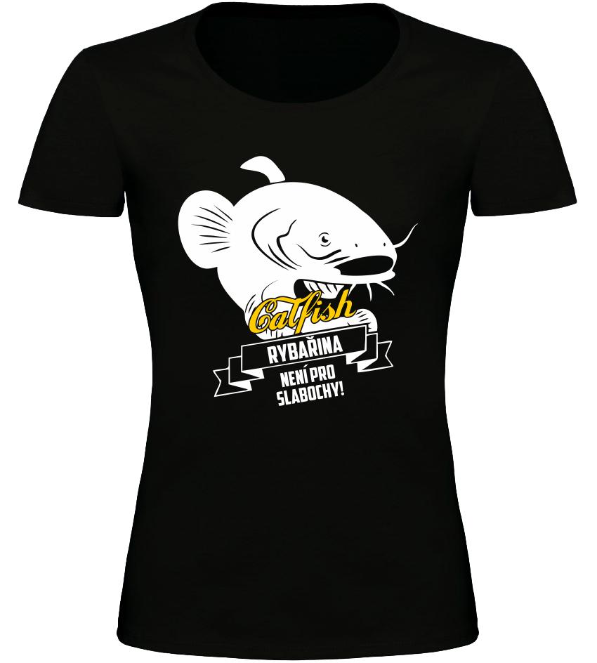 Dámské rybářské tričko Cat Fish černé