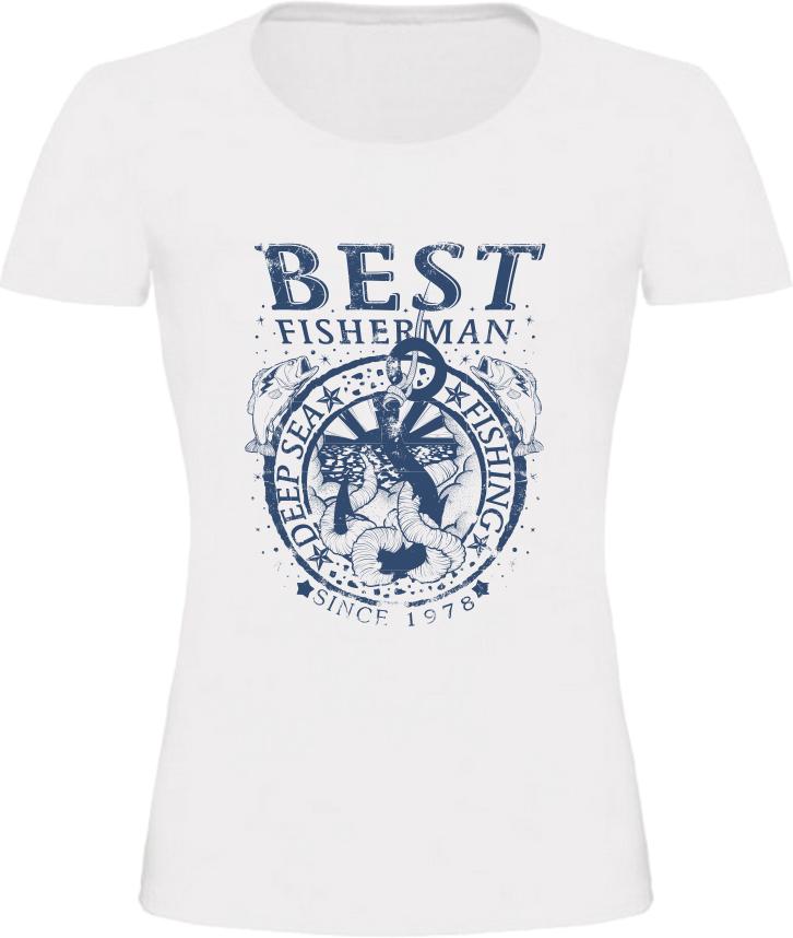 Dámské rybářské tričko Best Fisherman bílé