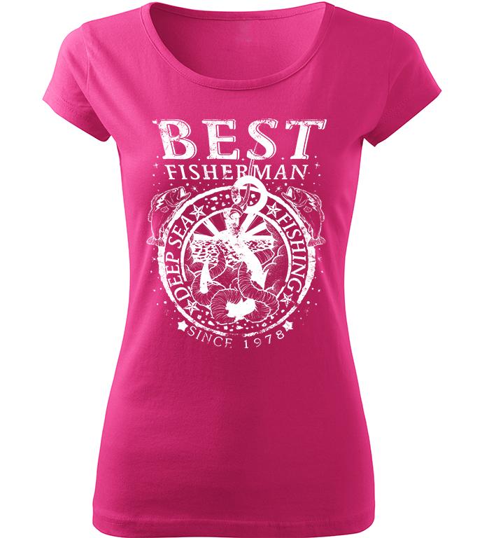 Dámské rybářské tričko Best Fisherman růžové