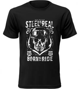 Pánské motorkářské tričko Steel is Real černé