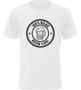 Pánské triko 100% Relax BEER bílé