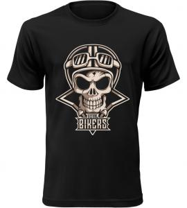 Pánské motorkářské tričko Skull Bikers černé