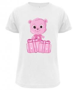 Dětské tričko s růžovým medvídkem bílé