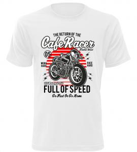 Pánské motorkářské tričko Full of Speed bílé