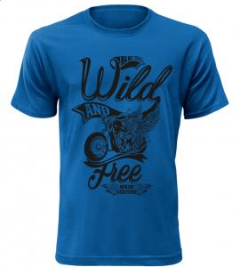 Pánské motorkářské tričko Wild and free modré