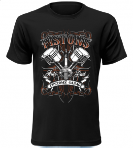 Pánské motorkářské tričko Pistons černé