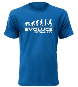 Pánské tričko evoluce fotbalisty modré