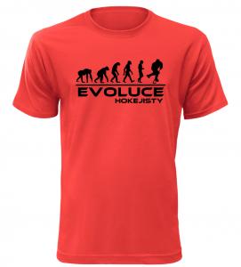 Pánské tričko evoluce hokejisty červené