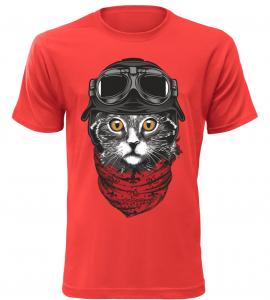 Pánské tričko Moto kočka červené