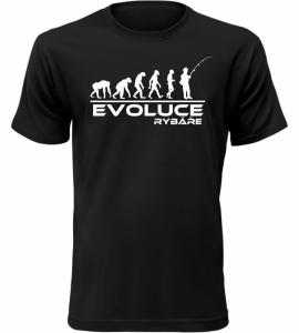 Pánské tričko evoluce rybáře černé