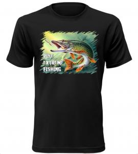 Pánské tričko pro rybáře se štikou černé