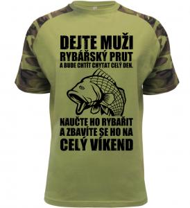 Pánské vtipné tričko jak se zbavit rybáře military