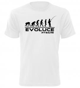 Pánské tričko evoluce rybáře bílé