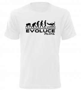 Pánské tričko evoluce pilota bílé