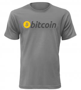 Pánské tričko s nápisem Bitcoin šedé