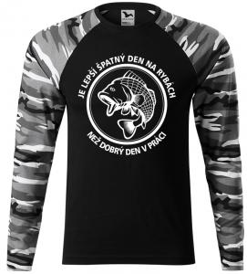 Pánské tričko pro rybáře Špatný den šedá camouflage