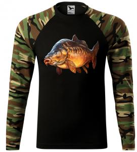 Pánské tričko pro rybáře s kaprem hnědá camouflage