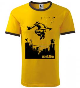 Pánské a dětské tričko Parkour draw žluté