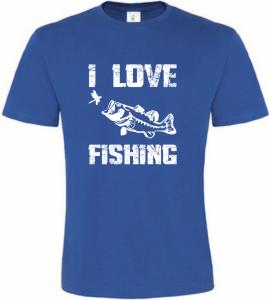 Pánské Rybářské tričko I Love Fishing modré