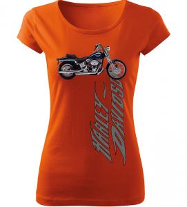 Dámské tričko s motorkou Harley Davidson oranžové