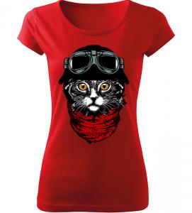 Dámské moto tričko Motokočka červené