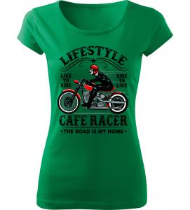 Dámské motorkářské tričko Lifestyle zelené