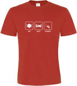 Pánské rybářské tričko Co mě baví červené