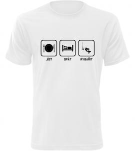 Pánské rybářské tričko Co mě baví bílé