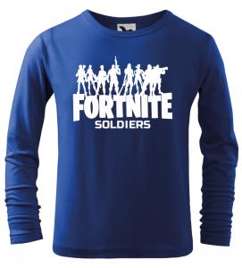 Dětské tričko Fortnite Soldiers s dlouhým rukávem modré