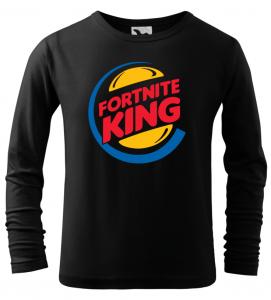 Dětské tričko Fortnite King s dlouhým rukávem černé