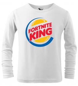 Dětské tričko Fortnite King s dlouhým rukávem bílé
